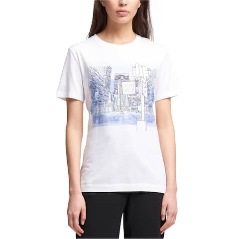 DKNY Womens City Graphic T-Shirt, White, X-Large