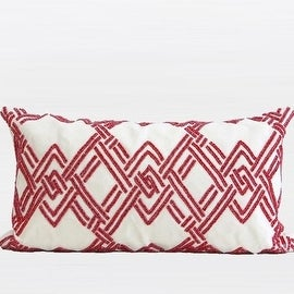 """G Home Collection Luxury Red Handmade Textured Check Beaded Pillow 12""""X22"""""""