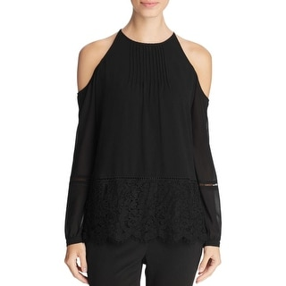 MICHAEL Michael Kors Womens Casual Top Cold Shoulder Chiffon
