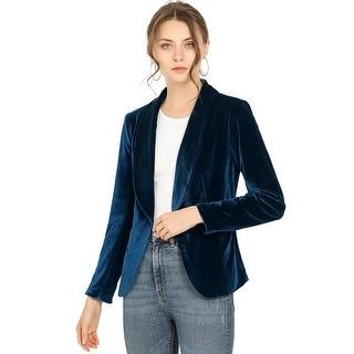 Allegra K Women's Office Coat Shawl Collar 1 Button Velvet Blazer - Deep Blue