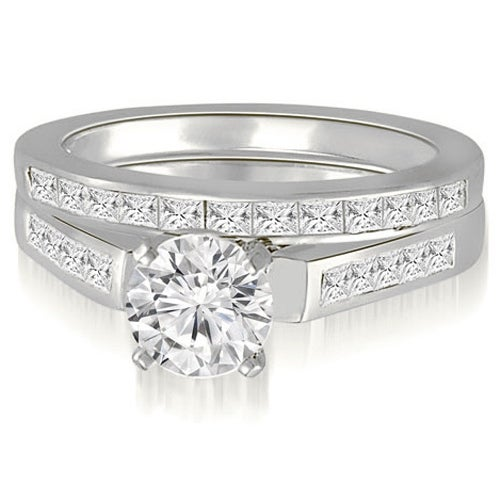 2.10 cttw. 14K White Gold Round And Princess Cathedral Diamond Bridal Set
