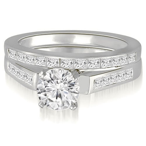 2.35 cttw. 14K White Gold Round And Princess Cathedral Diamond Bridal Set