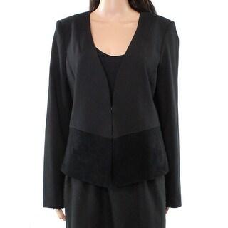 Karl Lagerfeld NEW Black Women's Size 14 Faux Suede Contrast Jacket