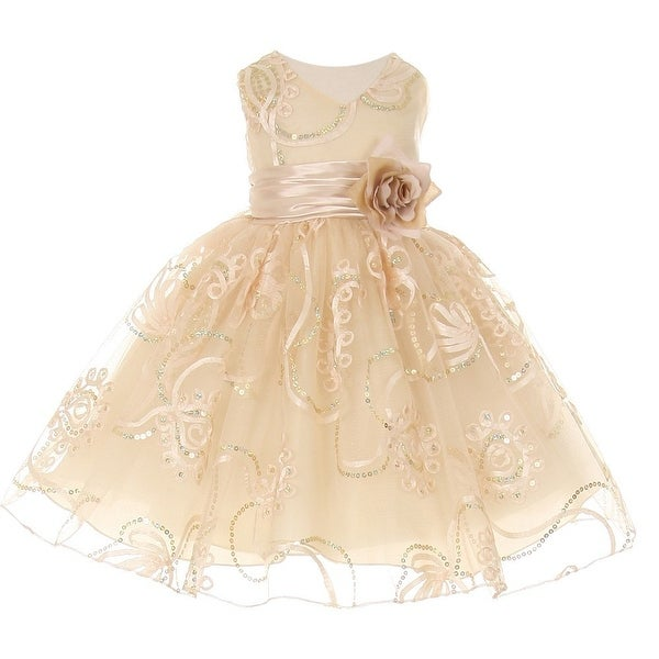 Baby Girls Champagne Tulle Embroidery Sequins Flower Girl Easter Dress 3-24M