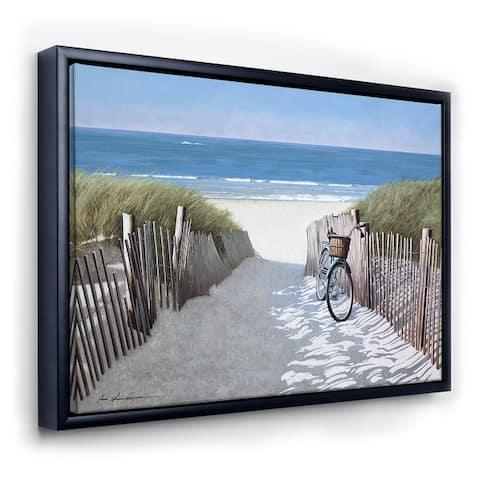 Designart 'Beach Bike 2' Nautical & Coastal Framed Canvas Art Print