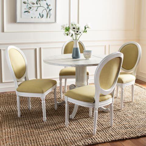 """SAFAVIEH Dining Old World Holloway Spring Green/ Cream Parisian Oval Dining Chairs (Set of 2) - 19.8"""" x 20"""" x 39"""""""
