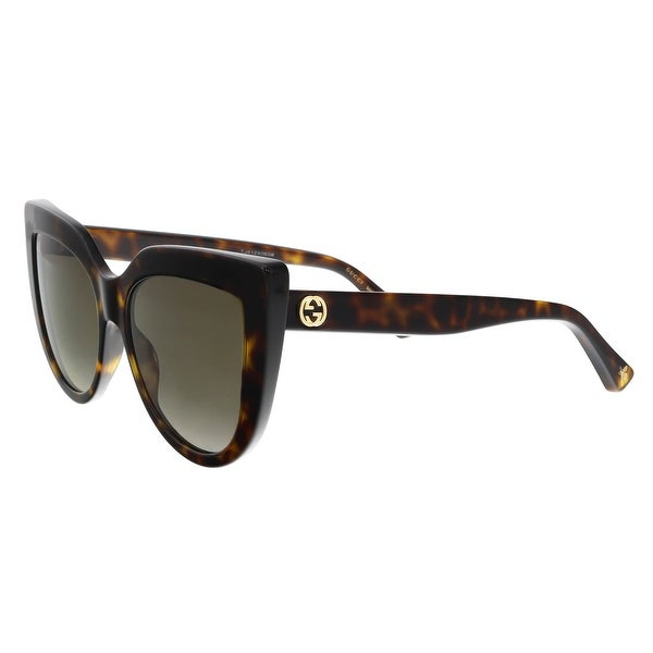 c883850ee71fc Shop GUCCI GG0164S 002 Havana Cateye Sunglasses - Free Shipping ...