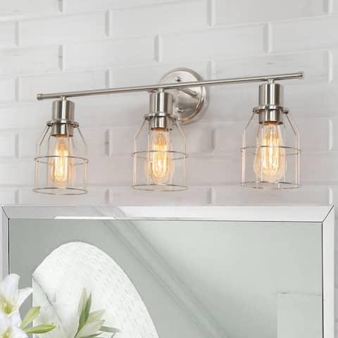 "Industrial 3-light Nickel Bathroom Vanity Light Cage Wall Sconce - L23.6"" * W6.7"" * H8.7"""