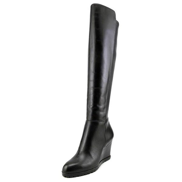 85b2a7a076ca Michael Michael Kors Woods Wedge Boot Women Leather Black Knee High Boot