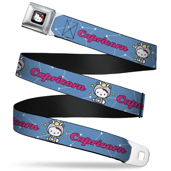 Hello Kitty W Red Bow Full Color Black Hello Kitty Zodiac Capricorn Webbing Seatbelt Belt