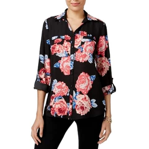 NY Collection Black Women's Size XL Button Down Floral Blouse