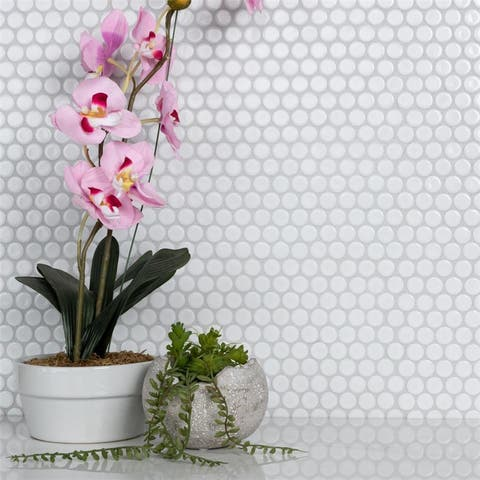 SomerTile 12x12.63-inch Penny Glossy White Porcelain Mosaic Floor and Wall Tile