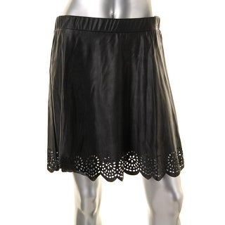 Stoosh Womens Juniors Faux Leather Laser Cut A-Line Skirt