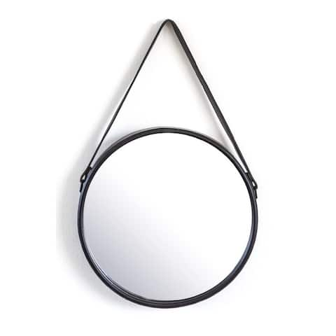 By-Boo Flection Black Leather Strap Accent Mirror - Clear