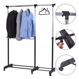 Costway Adjustable Heavy Duty Garment Rack Rolling Clothes Hanger Extendable Rail Rack - sliver