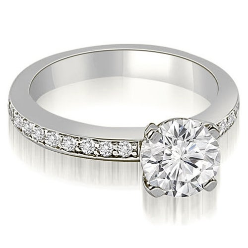1.05 cttw. 14K White Gold Classic Round Cut Diamond Engagement Ring
