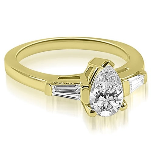 0.75 cttw. 14K Yellow Gold Pear and Baguette Three Stone Diamond Engagement Ring
