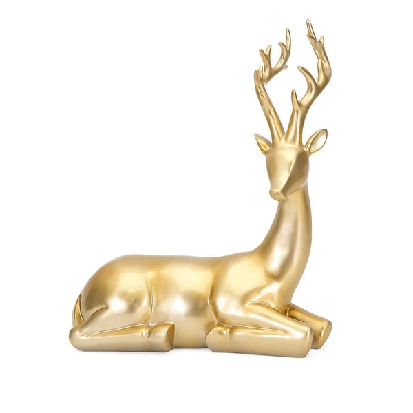 """13"""" Shiny and Smooth Textured Golden Decorative Resting Reindeer Sculpture"""