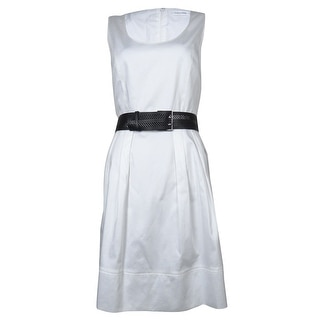 Calvin Klein Women's Solid Scoop Neck Cotton Blend Belted Dress