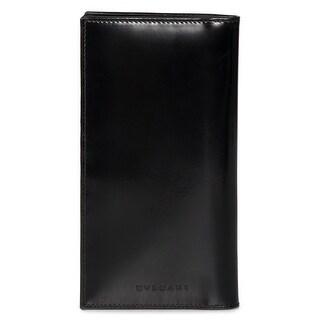 Bvlgari Smooth Black Leather Flap Wallet