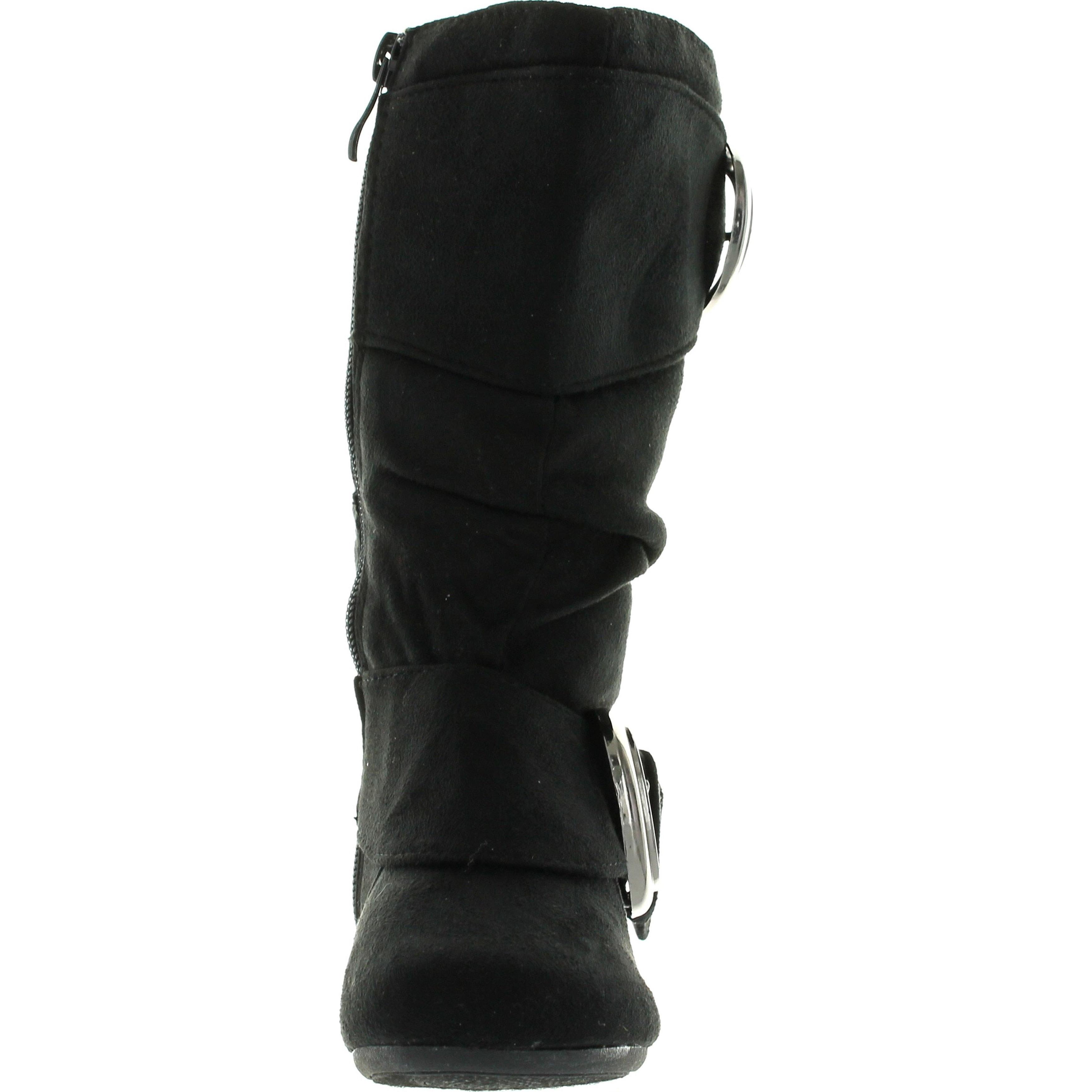 Toddler//Little Kid//Big Kid Link Girls Back Zipper /& Buckle Faux Suede Ankle Heel Booties