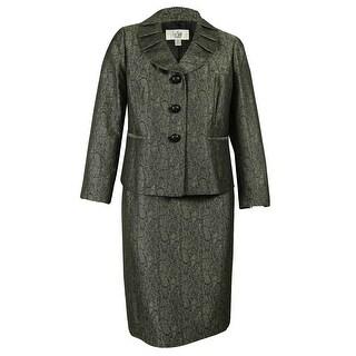 Le Suit Women's Pleated Collar Blazer Skirt Suit Set