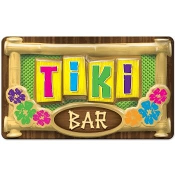 "Large Plastic 3-D Tiki Bar Sign 12.5"" x 17"" Decoration"