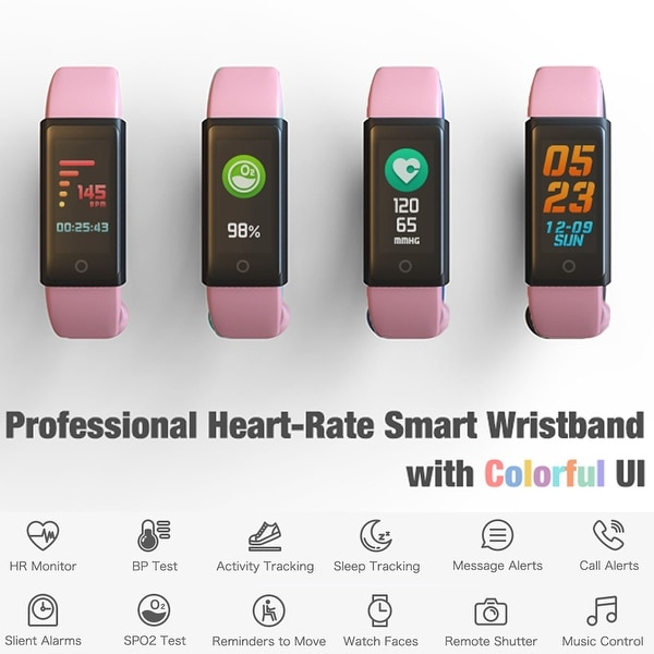 Fitness Bracelet and Health Tracker by Indigi - OLED Display - Bluetooth  Sync - Heart Rate Sensor + Blood Pressure & Pedometer
