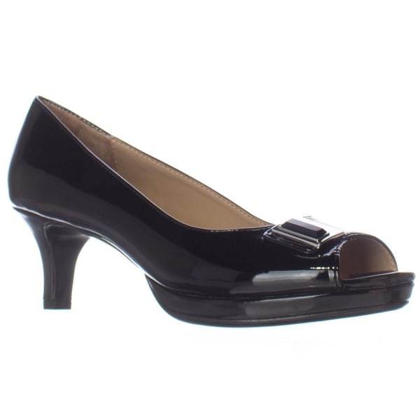 naturalizer Hark Peep Toe Kitten Heels, Black Shiny