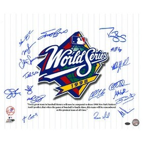New York Yankees signed 16x20 Photo 1998 WS Champs Pinstripe Giuliani Quote 18 sigsBAS HoloScott Br