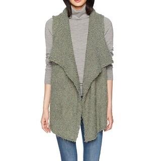 Kensie NEW Olive Green Womens Size Medium M Bobble Open-Front Fur Vest
