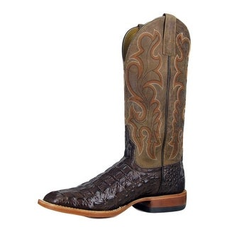 Horse Power Western Boots Mens Leather Cowboy Gator Brown HP1070
