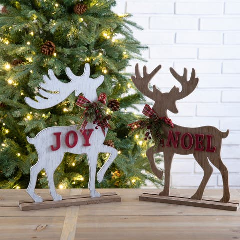 Glitzhome Set of 2 Wooden Farmhouse JOY Reindeer Table Decor