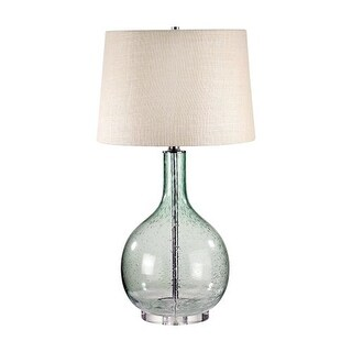 """Lamp Works 230 Glass 1 Light 28"""" Tall Table Lamp with Hardback Burlap Shade - Green"""