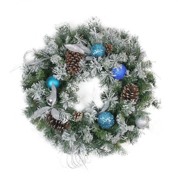 """24"""" Teal and Silver Ball Flocked with Pine Cones Artificial Christmas Wreath - Unlit - BLue"""