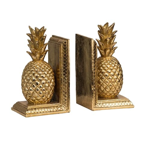 Set of 2 Gold Pineapple Bookends 9.8""