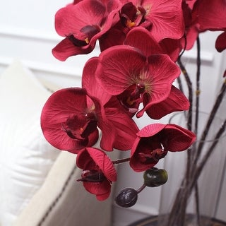 """G Home Collection Luxury Silk Butterfly Orchid Stem in Red 37"""" Tall"""