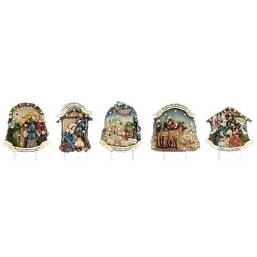 5-Piece Ivory and Blue Story Lawn Stake Christmas Nativity Sets