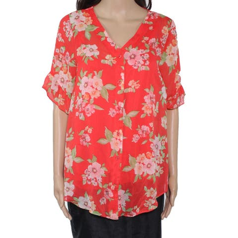 AGB Womens Blouse Red Size Medium M Floral Print Button Front V Neck