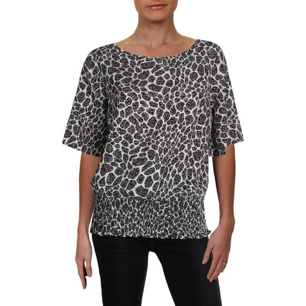 79e85061b142 Shop MICHAEL Michael Kors Womens Blouse Animal Print Smocked - Free  Shipping On Orders Over $45 - Overstock - 28309315