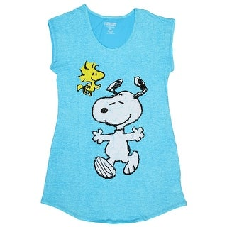 Peanuts Juniors Snoopy And Woodstock Distressed Nightgown Sleep Shirt