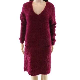 HYFVE NEW Red Women's Size Medium M Eyelash Knit V-Neck Sweater Dress