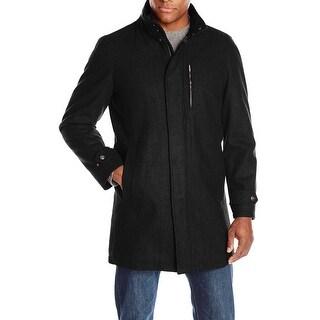 Perry Ellis NEW Black Mens Size Medium M Zip-Front Wool-Blend Coat