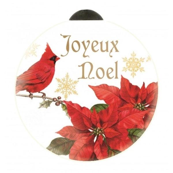 "Ne'Qwa ""Joyeux Noel"" Hand-Painted Blown Glass Christmas Ornament #7151140 - RED"