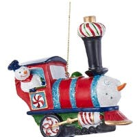 "3.75"" Red Peppermint Twist Snowman Glittered Steam Engine Train Christmas Ornament"