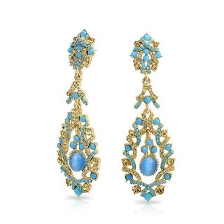 Bling Jewelry Gold Plated Alloy Imitation Cats Eye Crystal Chandelier Earrings - Blue