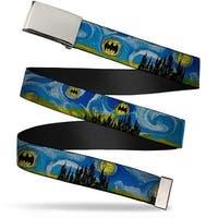 Blank Chrome  Buckle Batman Dark Starry Night Webbing Web Belt