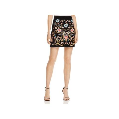 Lucy Paris Womens Mini Skirt Velvet Embroidered
