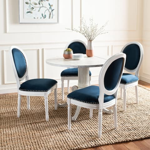 """SAFAVIEH Dining Old World Holloway Navy Velvet Oval Dining Chairs (Set of 2) - 19.8"""" x 20"""" x 39"""""""