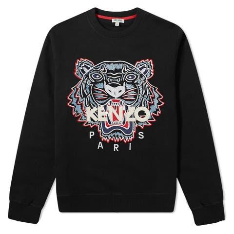 Kenzo Mens Black Tiger Logo Sweatershirt Pullover